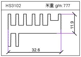高密齿铝型材HS3102