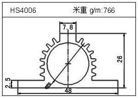高密齿铝型材HS4006